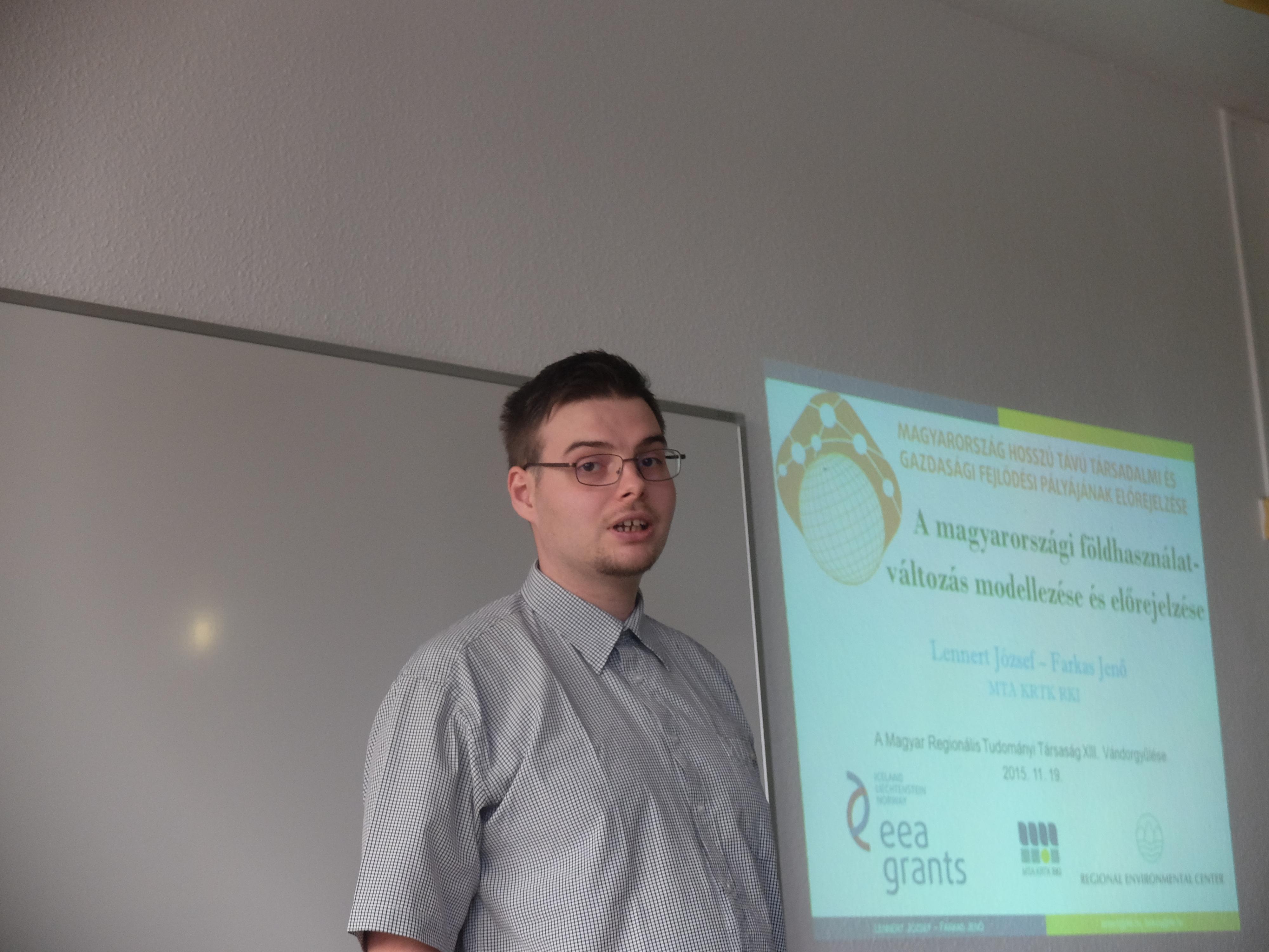Lennert József előadása a Magyar Regionális Tudományi Társaság XIII. Vándorgyűlésén, Egerben, 2015. november 20-án